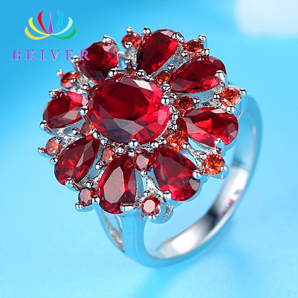 [해외] Beiver Fashion AAA Zircon Ring For Woman Elegant Red Water Drop Engagement Jewelry Valentine`s Day Present 2019 New Arrival / Beiver Fashion AAA
