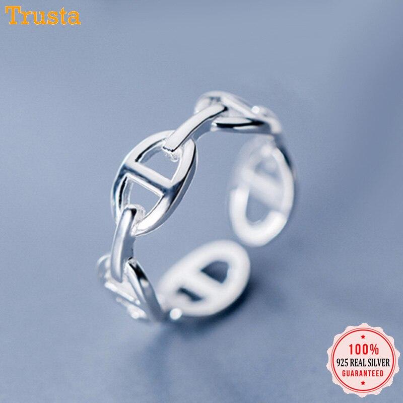 [해외]Trusta 2019 100% 925 Sterling Silver Ring Women  Fashion Jewelry Gift for Girl Friend Office Lady DS1493/Trusta 2019 100% 925 Sterling Silver Ring