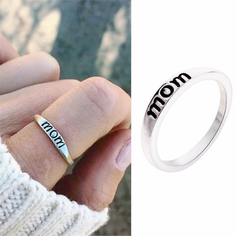 [해외]New Fashion Mom Dad Jewelry Silver Color Rings for Mother Father Cute Anniversary Accessories Mother`s Day Love Gift Classic Mum/New Fashion Mom D