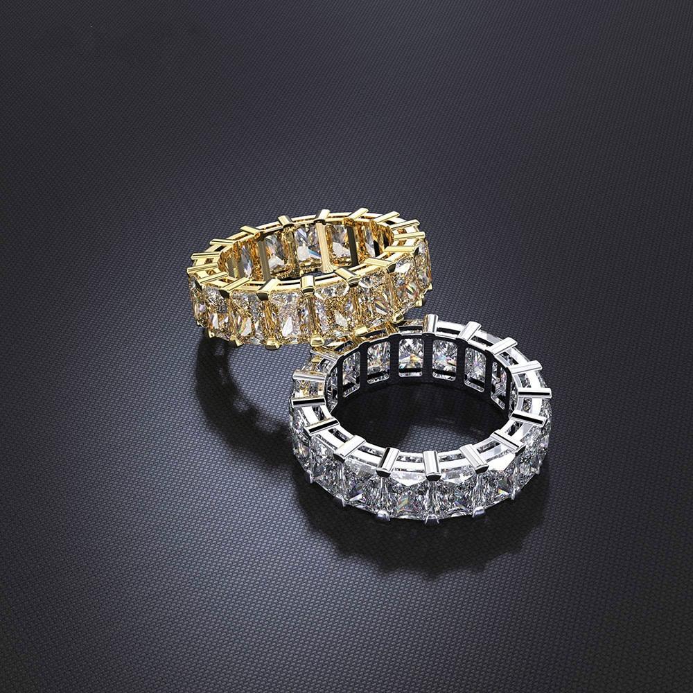 [해외]Luxury Eternity Promise ring 925 Sterling silver Princess cut AAAA cz Party Wedding Band Rings for women Bridal Fashion Jewelry/Luxury E