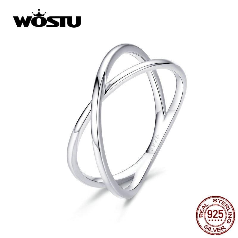 [해외]WOSTU 100% Real 925 Stelring Silver Double Layer Cross Finger Rings Classic 2019 New Rings For Women Jewelry Gift CQR543/WOSTU 100% Real