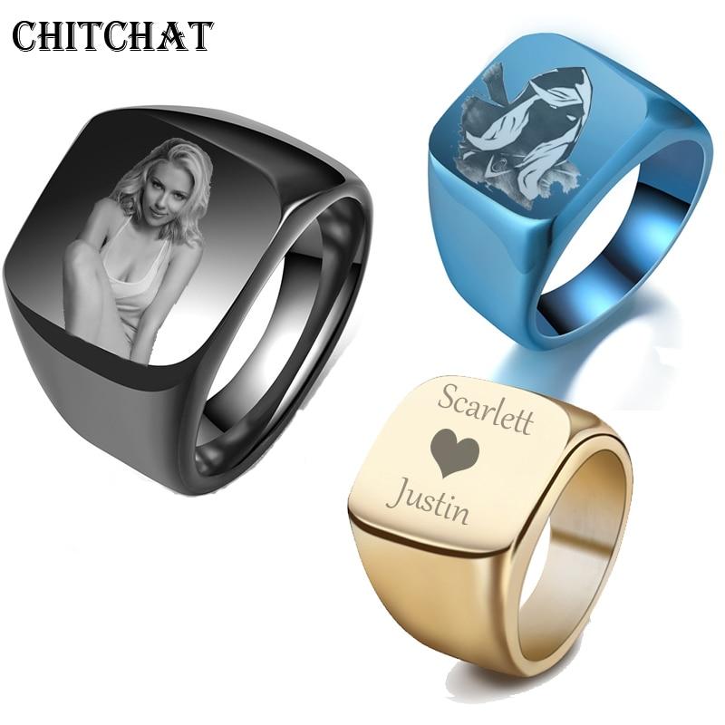 [해외]Personalized Customized Engrave Name Photo Ring Stainless Steel Mens Signet Rings Family Photo Male Engagement Wedding Rings/Personalize