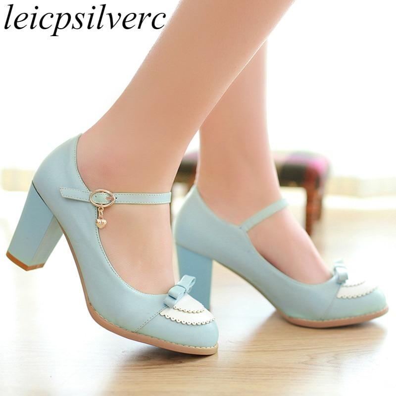 [해외]Women Pumps Shoes High Heels Sexy New Fashion Square Heel Platform Buckle Spring Autumn Pu Party Wedding Shoes Blue Pink Black/Women Pumps Shoes H