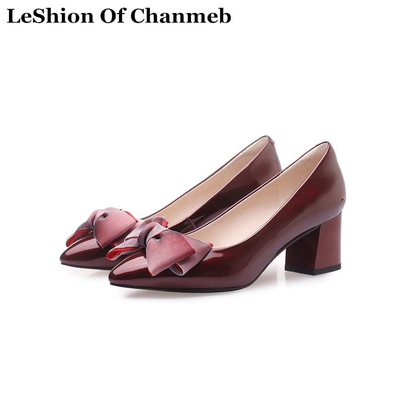 [해외]2019 sweet big bow-knot party pumps for women slip ons block heels shoes ladies larger size 43 wine red pumps szpilki damskie/2019 sweet big bow-k
