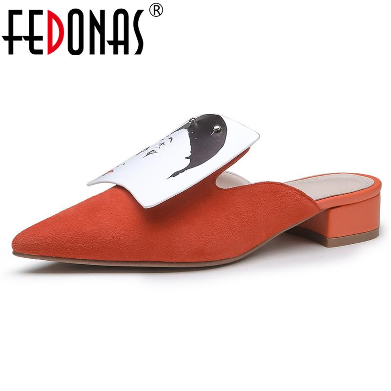 [해외]FEDONAS Spring Summer New Women Shallowed Shoes Pointed Toe Low Heels Comfortable Casual Pumps Shoes Woman Basic Mules Shoes/FEDONAS Spring Summer