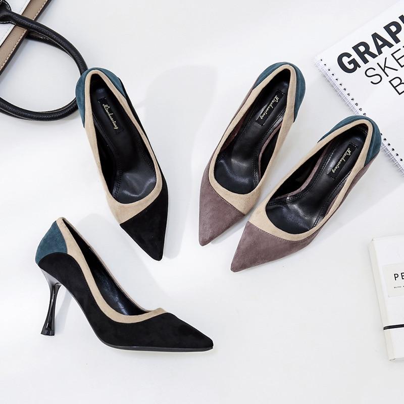 [해외]2019 new women high heesl shoes pumps suede stiletto pointed shallow mouth ladies shoes heels office elegant sexy stiletto/2019 new women high hee