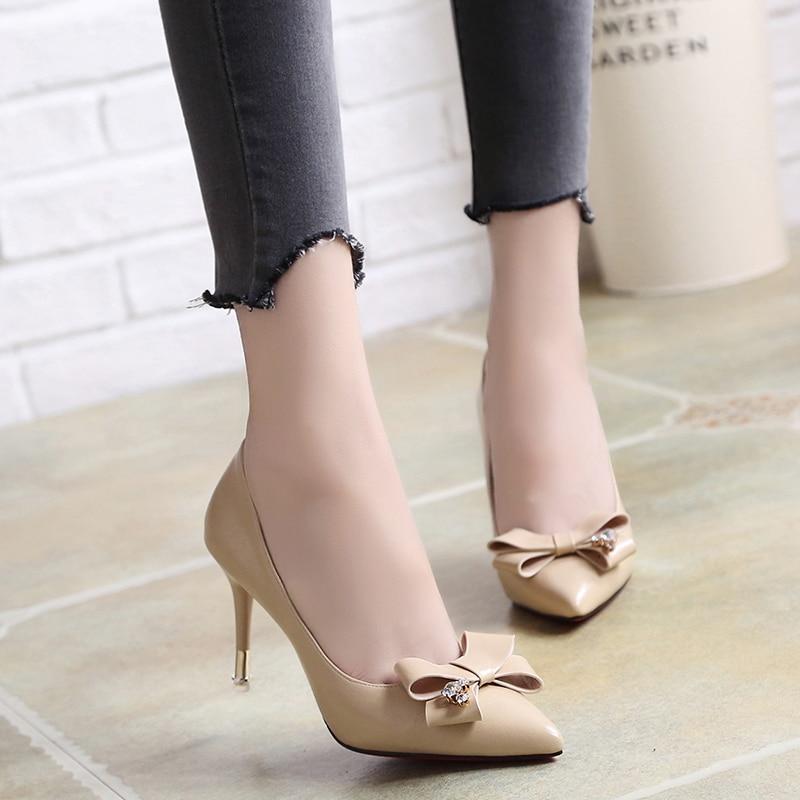 [해외]Lucyever Women Thin High Heels Stiletto Pumps Ladies Sexy Bowtie Pointed Toe Shallow Crystals Party Wedding Dress Shoes Woman/Lucyever W