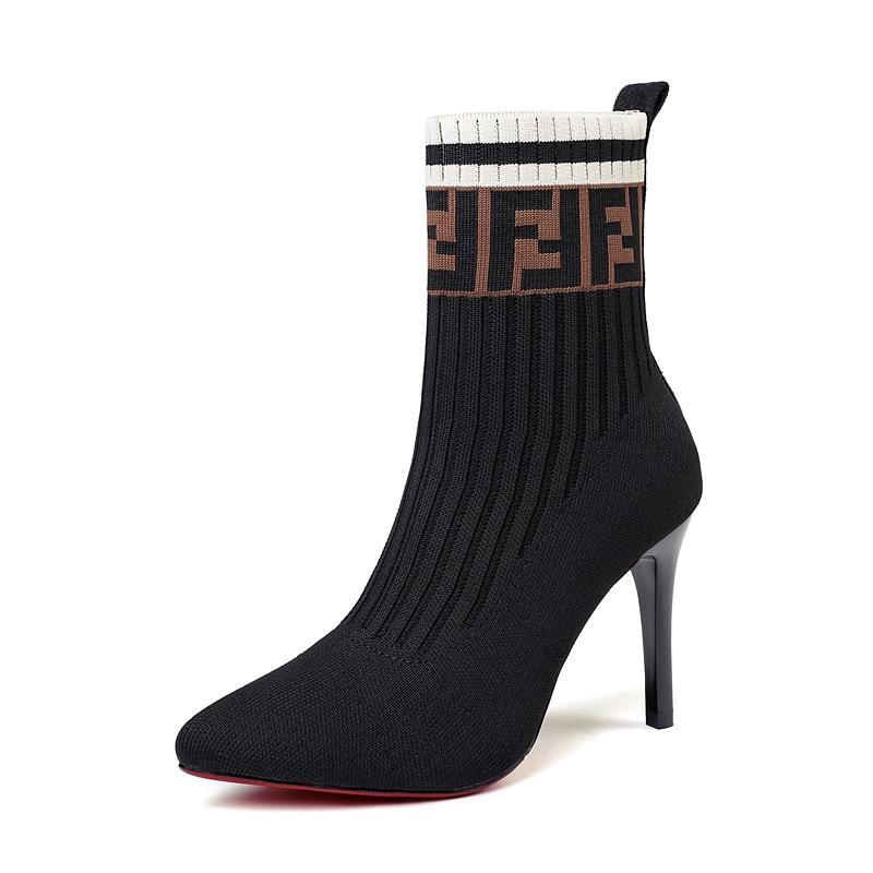 [해외]2020 Spring/Autumn New Women Knitted Stretch Fabric Super High Sock Boots Red Bottom High Heels/2020 Spring/Autumn New Women Knitted Str
