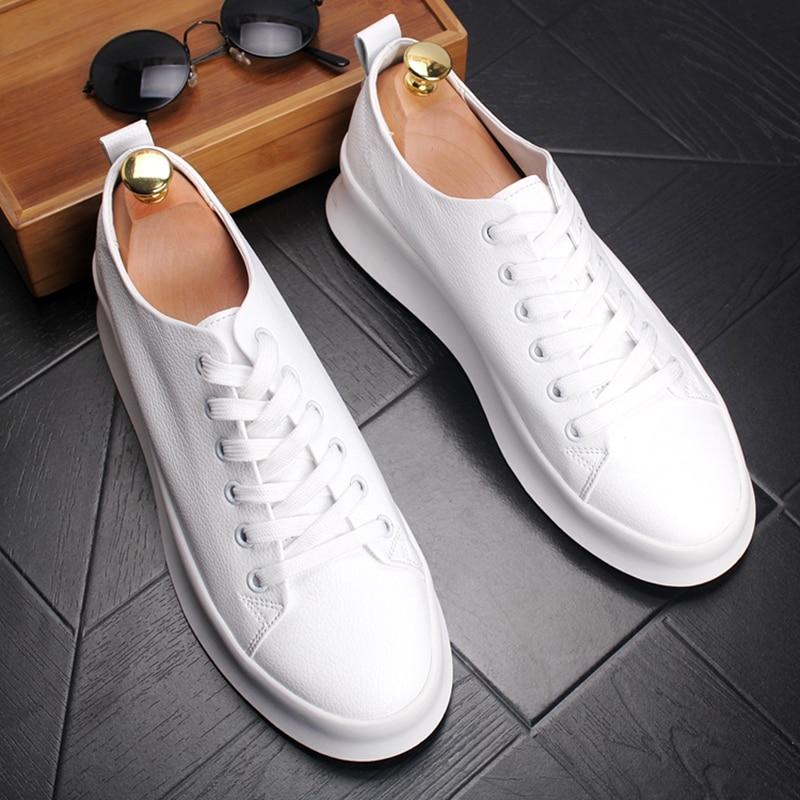[해외]Stephoes 새로운 도착 남자 패션 캐주얼로 퍼 여름 가죽 두꺼운 바닥 낮은 상위 통기성 흰색 신발 남성 트렌드 스 니 커 즈