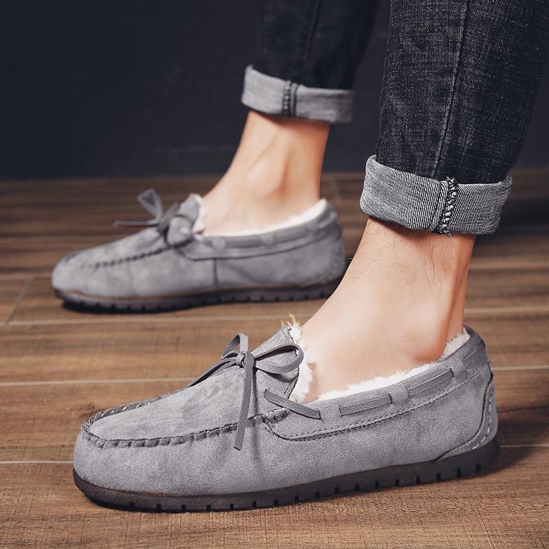 [해외]캐주얼 신발 커플 겨울 플러스 벨벳 moccasin 따뜻한 로퍼 패션 운전 신발 안티-슬립 워킹 신발 야외 콩 신발