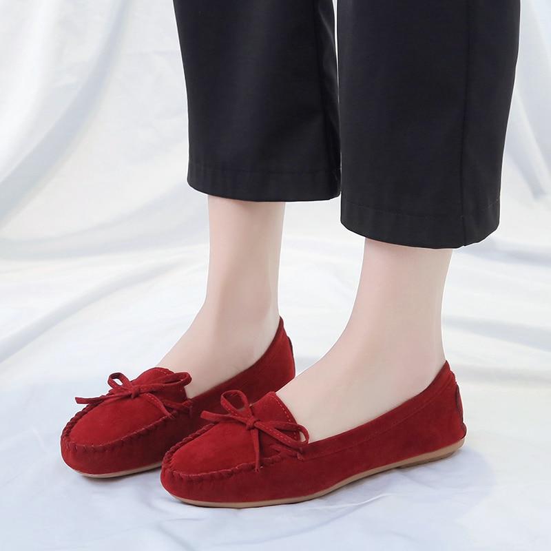 [해외]Women Ballet Shoes Flats Cut Out Leather Breathable Women Boat Shoes Ballerina Ladies Shoes Slip on Shoes Woman Shallow Flats/Women Ballet Shoes F