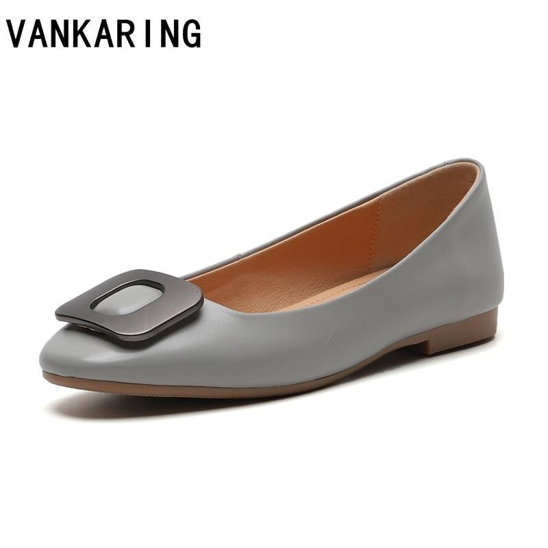 [해외]fashion shoes woman flats high quality genuine leather ballet flats casual shoes square toe rubber ladies flat shoes women shoes/fashion shoes wom
