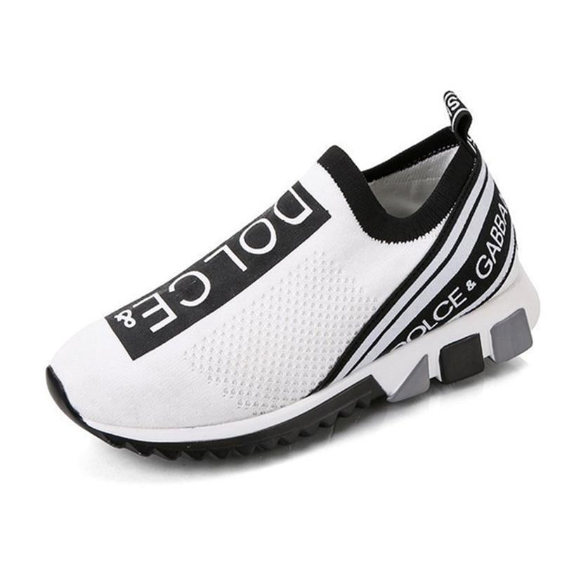 [해외]Fashion casual shoes mesh comfortable women shoes 2020 breathable elastic soft bottom ladies sneakers white design tennis shoes/Fashion