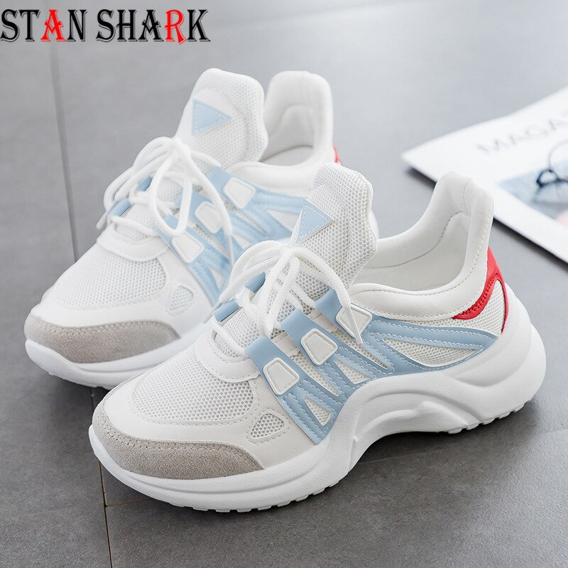 [해외]2019 Fashion Sneakers Women Breathable Mesh Shoes Vulcanize Female Sneakers Lace Up Leisure Women Casual Shoes Footwears shoes/2019 Fashion Sneake