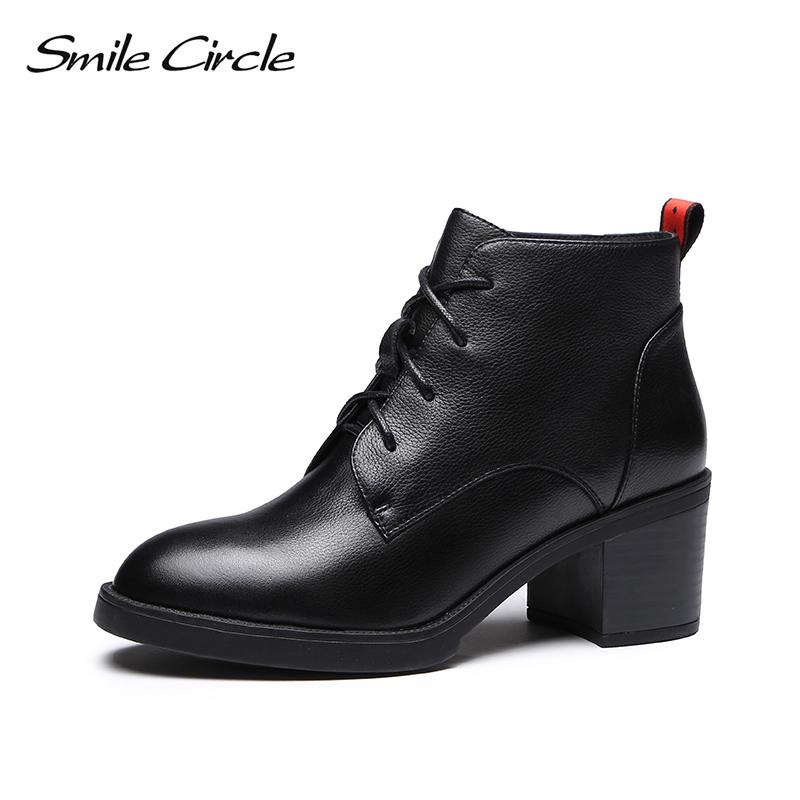 [해외]Smile Circle High-quality High heel Ankle Boots women Genuine Leather Simple Ladies Lace-Up Short Boots shoes 2018 Autumn boots/Smile Circle High-