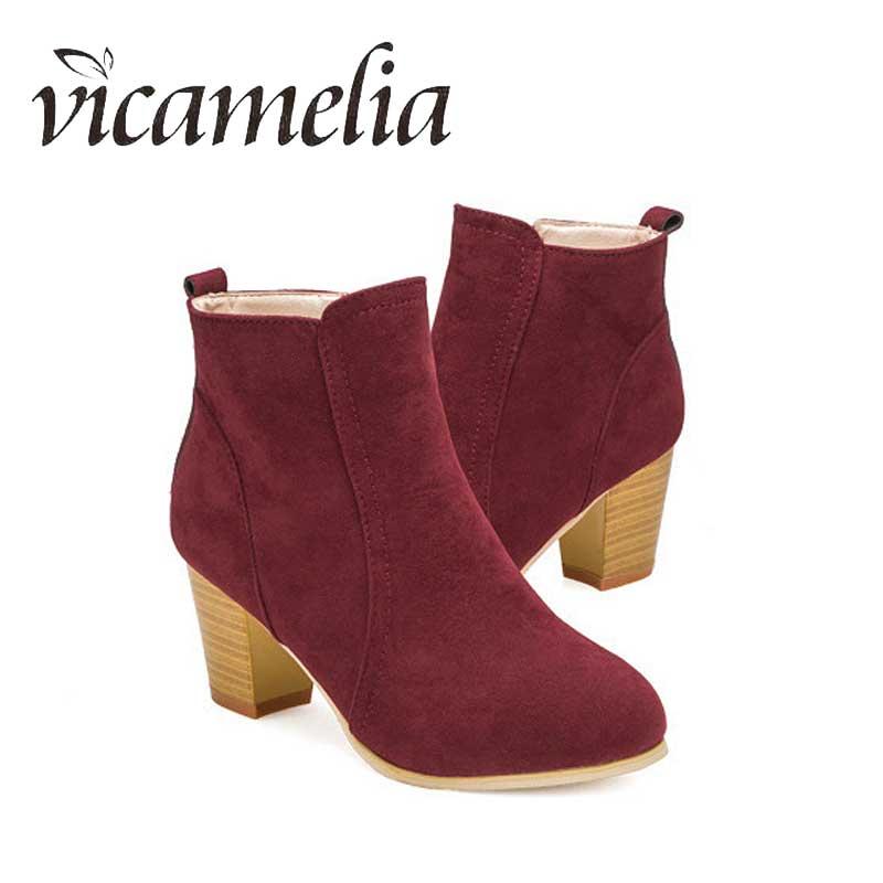 [해외]Vicamelia Ankle Boots For Women Casual Square High Heel Platform Waterproof Duck Boots Woman Fashion Zip Winter Womens Shoes 231/Vicamelia Ankle B