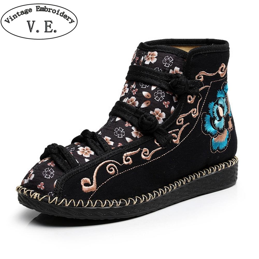 [해외]Chinese Ethnic Women Boots Flower Embroidered Ankle Rubber Boots For Woman Spring Autumn Ladies Flat Shoes Zapatillas Mujer/Chinese Ethnic Women B