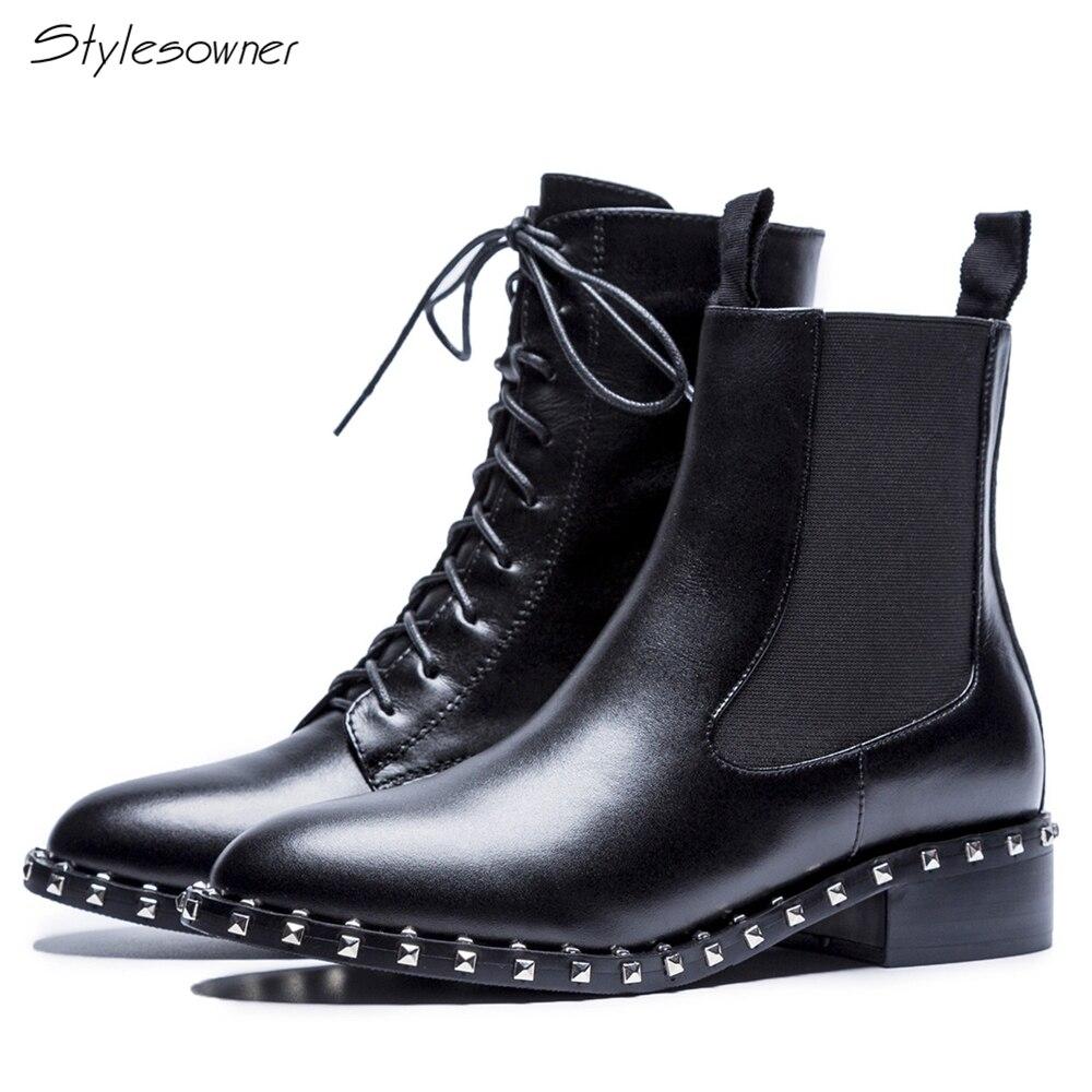 [해외]Stylesowner Rivets Lace Up Ankle Black Boots For Women Chic Brand Real Leather Short Botas Lady Elastic Chelsea Boots ShortBoots/Stylesowner Rivet