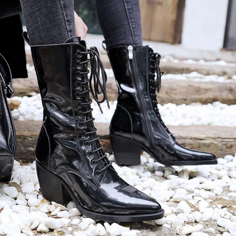 [해외]Bota feminina black ankle boots for women lace up punk rain boots ladies shoes cowboy boots designer martin woman shoes 2018/Bota feminina black a