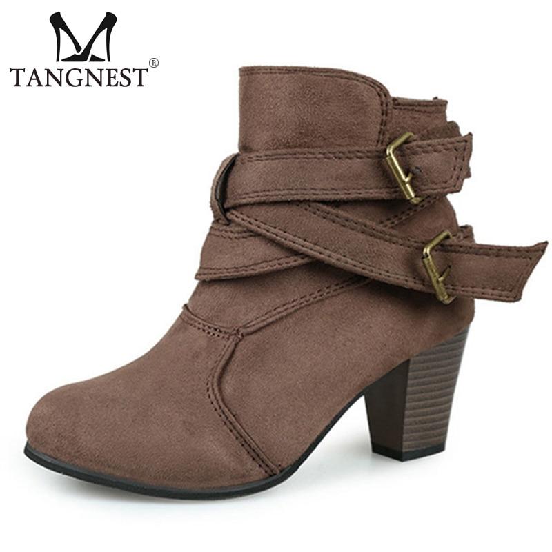 [해외]Tangnest 2019 New Winter Ankle Boots Women Fashion Buckle Strap High Square Heels Solid Flock Leather Mujer Casual Shoes XWX6922/Tangnest 2019 New