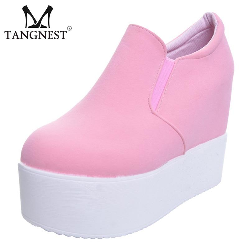 [해외]Tangnest 2019 Platform Ankle Boots Women Solid Soft High Heels Slip On Fashion Creepers Riding Boots Ladies Flat Shoes XWX2835/Tangnest 2019 Platf