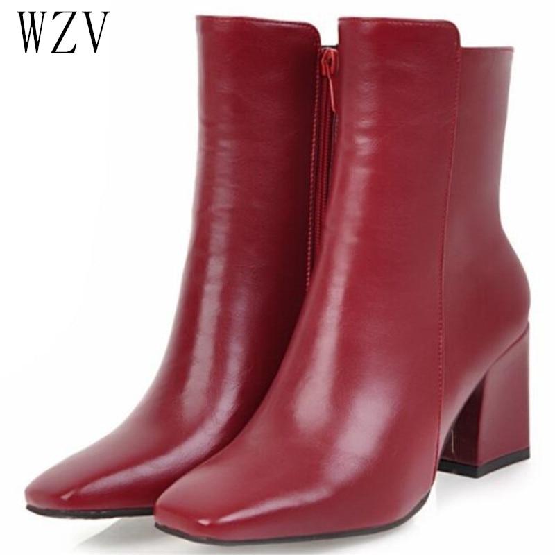 [해외]2019 Women Side Zipper Martin Boots Comfortable Mid Heel Ankle Boots Fashion Warm Winter Shoes Black Red White Women Boots H410/2019 Wom