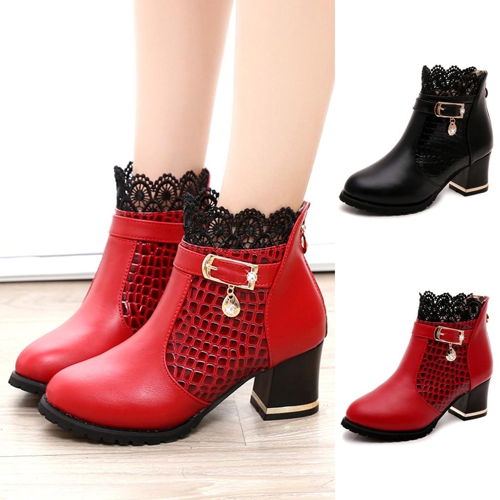 [해외]여자의 숙 녀 부츠 가을 겨울 라운드 발가락 신발 빈티지 pu 가죽 발목 레이스 짧은 부츠 여성 편안한 신발 m50 #