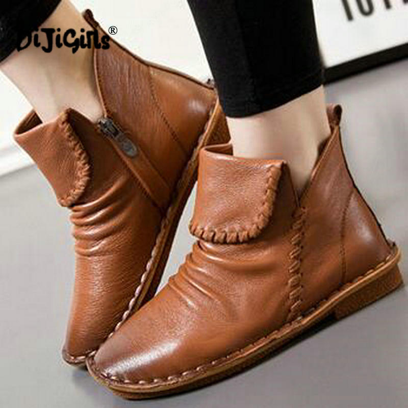 [해외]Genuine Leather Women Boots Fashion Zipper Handmade Round Toes Low Heel Ankle Boots Shoes/Genuine Leather Women Boots Fashion Zipper Handmade Roun