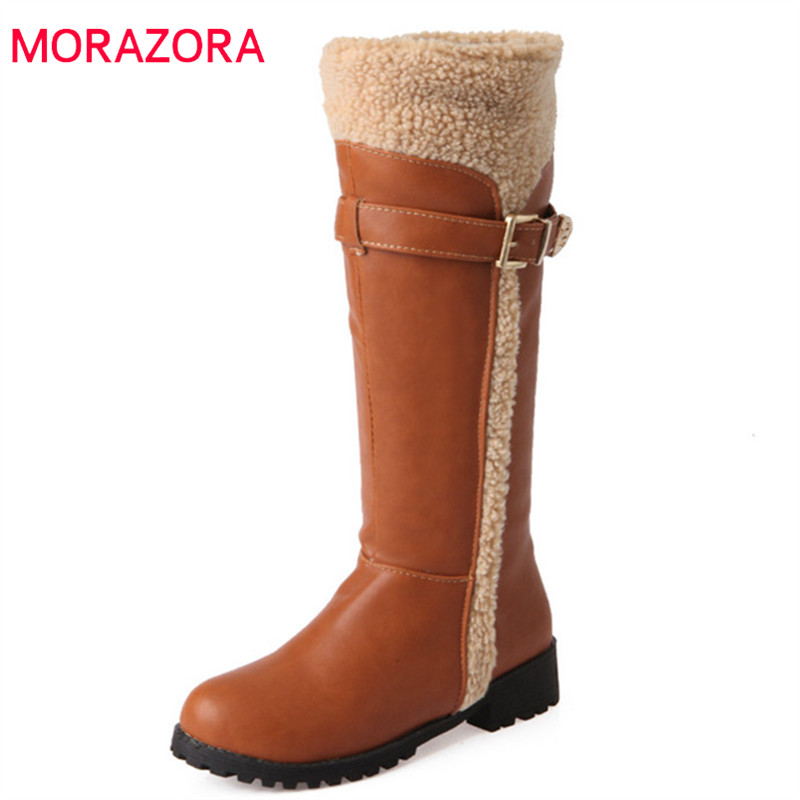 [해외]MORAZORA 2018 new arrival knee high boots women pu round toe winter snow boots black faux fur comfortable low heels shoes woman/MORAZORA 2018 new