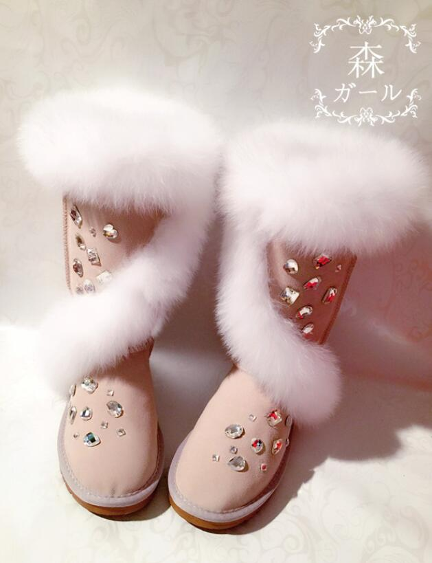 [해외]2019 new gemstone rhinestone fox fur cross high tube real cowhide snow boots cotton shoes high snow boots/2019 new gemstone rhinestone fox fur cro