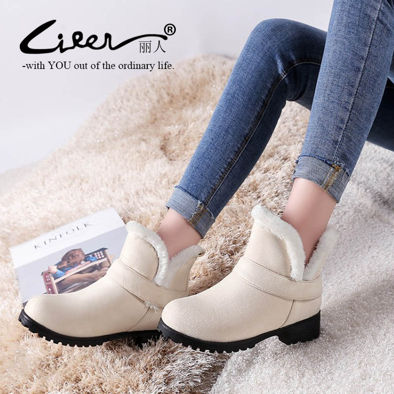 [해외]Big Size 34-48 Ankle Boots For Women 2018 Winter warm fur Snow Boots Flat Heels Platform Women Shoes Female Round Toe Boots/Big Size 34-48 Ankle B