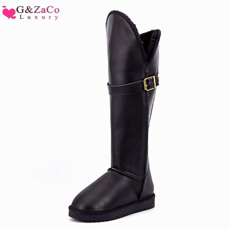 [해외]G & zaco 럭셔리 새 겨울 정품 가죽 쇠가죽 채찍 높은 무릎 높은 긴 눈 부츠 여성 두꺼운 모피 버클 방수 부츠