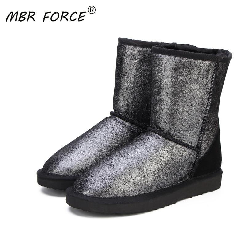 [해외]MBR FORCE 여성을위한 최고 품질의 정품 가죽 스노우 부츠 방수 겨울 부츠 여성 부츠 2 색 신발 미국 4-13