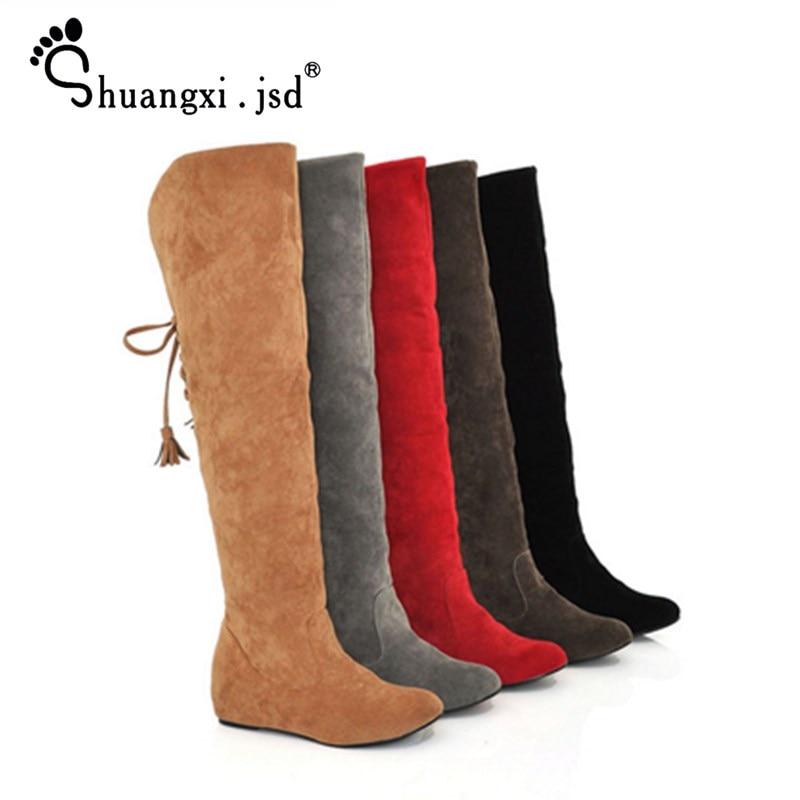[해외]Shuangxi. jsd 겨울 높은 부츠 여성 레이스 무릎 긴 빨간 부츠 큰 크기 사용자 정의 따뜻한 여자 신발 bota feminina 유지