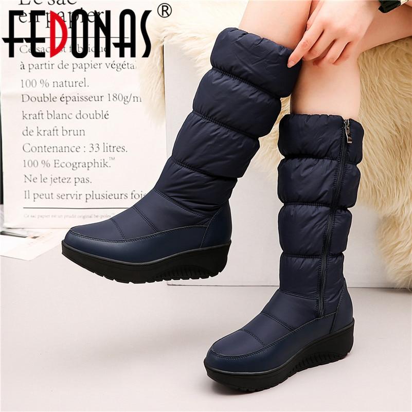 [해외]FEDONAS 여성 Mid-calf 부츠 2020 새로운 겨울 계속 긴 따뜻한 둥근 발가락 여성 스노우 부츠 사이드 지퍼 플랫폼 캐주얼 신발 여성