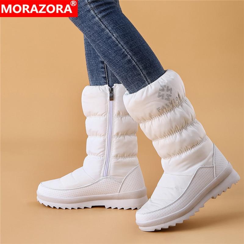 [해외]MORAZORA 큰 크기 36-41 새로운 따뜻한 스노우 부츠 여성 지퍼 플랫폼 부츠 단색 방수 중반 송아지 두꺼운 모피 겨울 부츠