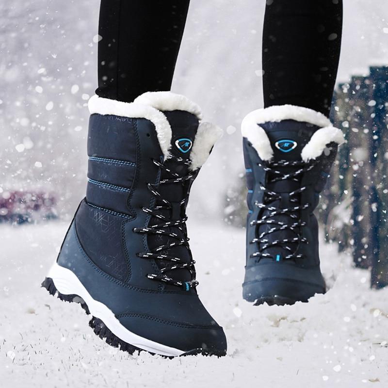 [해외]겨울 신발 여성 부츠 플랫폼 두꺼운 모피 스노우 부츠 여성 겨울 2019 따뜻한 겨울 부츠 여성 플러스 사이즈 chaussures femme