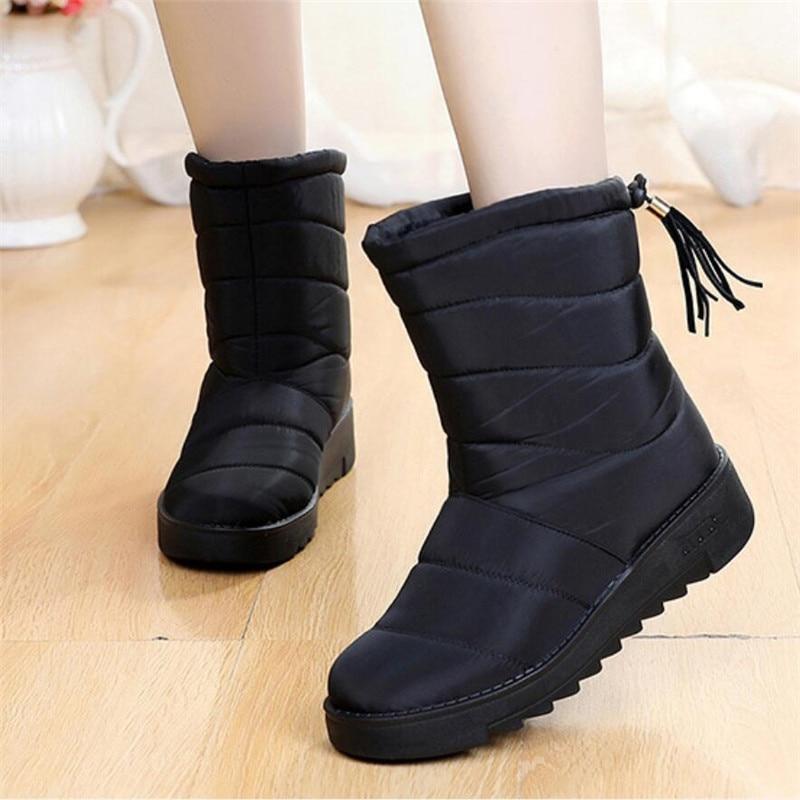 [해외]겨울 방수 스노우 부츠 womentassel half bootee woman 2019 웜 플러시 신발 레이디 여성 컴포트 부츠 플러스 사이즈 43 botas