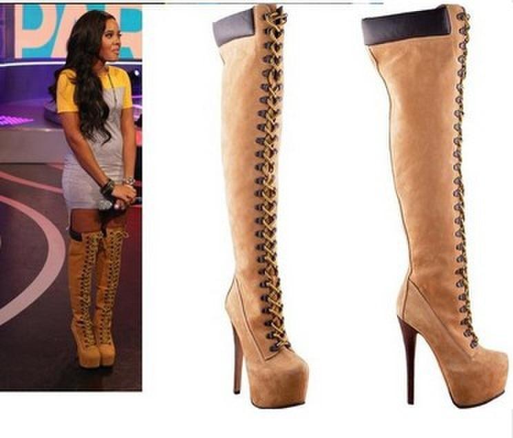 [해외]Real Women fashion dark yellow suede 16cm high heel lace-up over the knee boots high platform buckles fastening stylish shoes/Real Women fashion d
