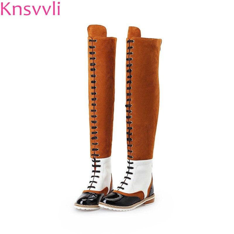 [해외]New Genuine leather Martin Boots Women Fashion Mixed Color Low heel Lace Up Over The Knee Boots studded Chain Botas Mujer/New Genuine leather Mart
