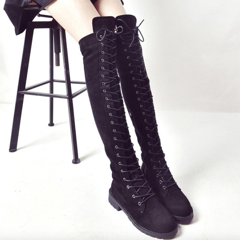 [해외]Women Boots Fashion Flock Leather Women Over The Knee Boots Lace-Up Med Heel Women Motorcycle Boots Square Heel Knight boots/Women Boots Fashion F