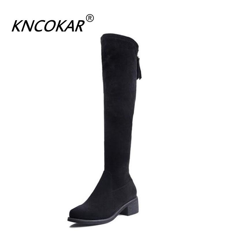[해외]KNCOKAR fall 2018 new style boots women`s shoesknee high in style round head high boots/KNCOKAR fall 2018 new style boots women`s shoesknee high i