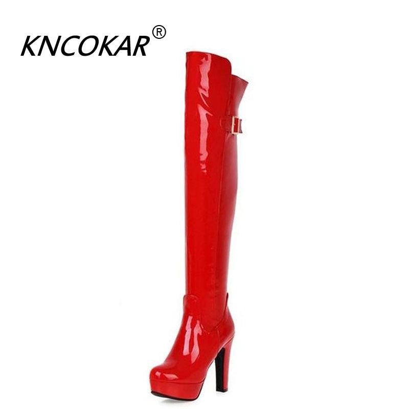[해외]KNCOKAR New Black Patent Leather Boots For Fall And Winter 2018 Sexy Chunky BootsExtra High Heels Waterproof Platform/KNCOKAR New Black Patent Lea