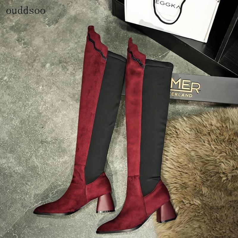 [해외]Over The Knee Boots Stretch Sexy Fashion Bottines Femme 2018 Nouveau Red High Heels Felt Boots For Women Shoes Winter Big Size/Over The Knee Boots