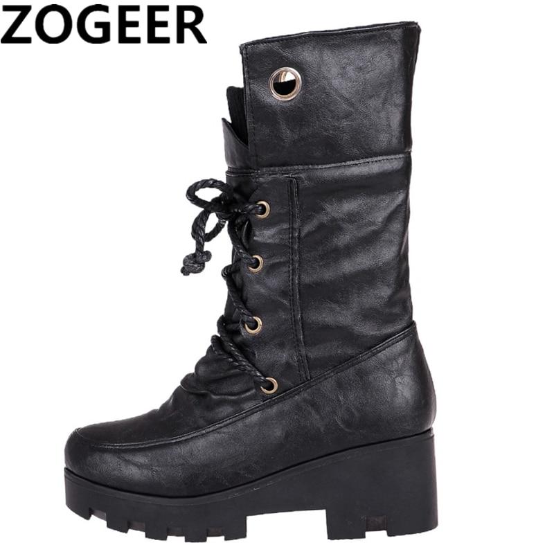 [해외]Vintage Boots Women Thick Punk High Heels Lace Up Warm Fur Winter Shoes Round Toe Platform Women Mid-calf Snow Boots/Vintage Boots Women Thick Pun