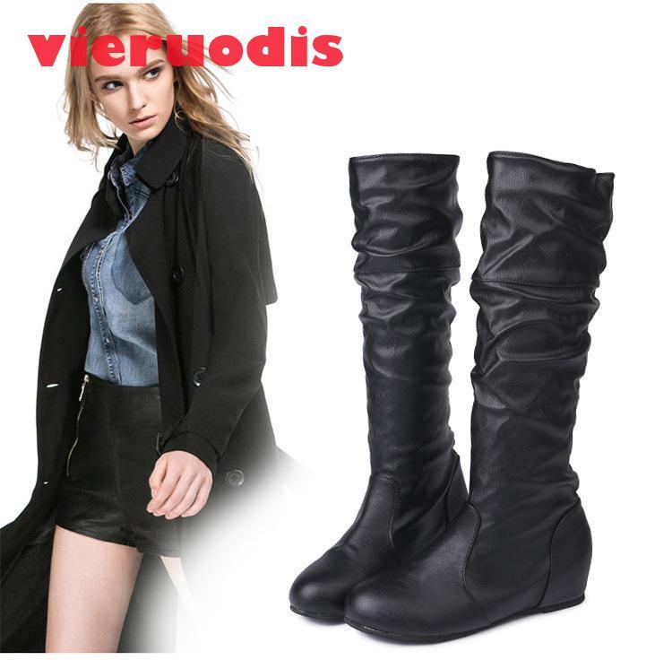 [해외]Women`s warm, cold-proof boots, European and American trends, pure color folds, high-barrel leather locomotive boots34-43/Women`s warm, cold-proof
