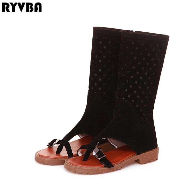[해외]RYVBA 2019 new woman fashion summer mid calf boots ladies open toe sandals for women black brown low heels shoes sandalias mujer/RYVBA 2019 new wo