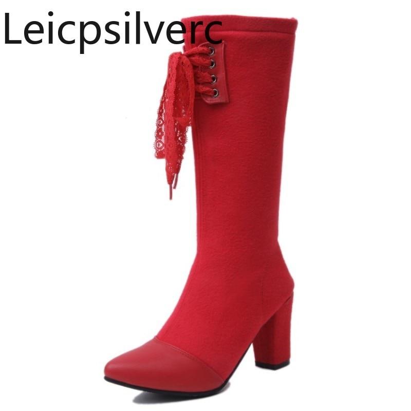 [해외]Women`s Boots Spring and Autumn Knee Medium long section Thick heel Stretch boots Red black and gray plus size 33-45/Women`s Boots Spring and Autu