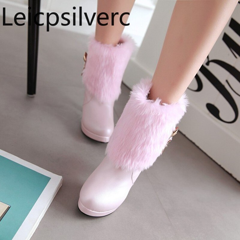 [해외]Women`s Boots Autumn And Winter Middle tube Round head Thick heel Ms boots plus size 33-43 woman Women`s shoes/Women`s Boots Autumn And Winter Mid