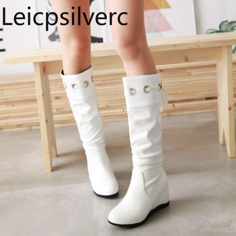 [해외]Women`s Boots  Autumn And Winter New style Middle tube boots Knight boots White yellow black plus size 33-43/Women`s Boots  Autumn And Winter New